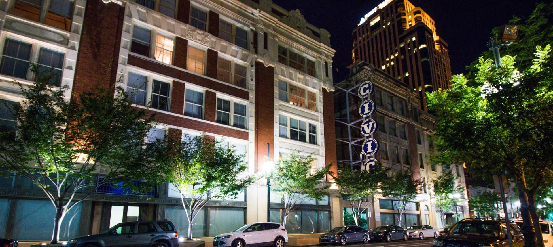 Civic Lofts building at night